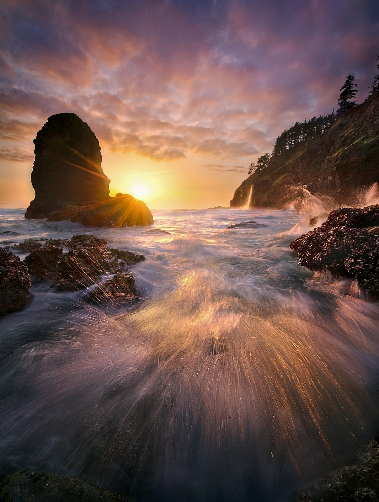 Oregon, Coast, Sunset, Unique, Wave, Waterfall, photo