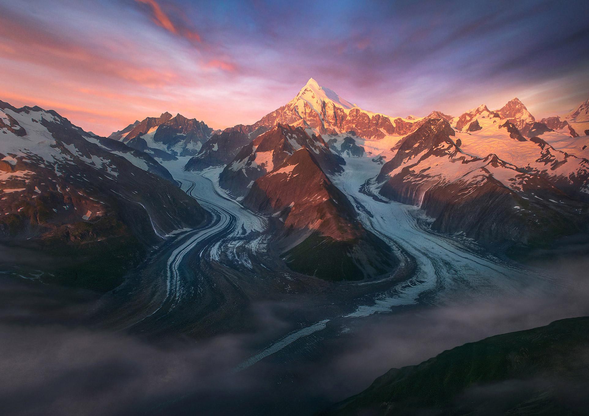 Fairweather, glaciers, waterfalls, Alaska, coast, photo