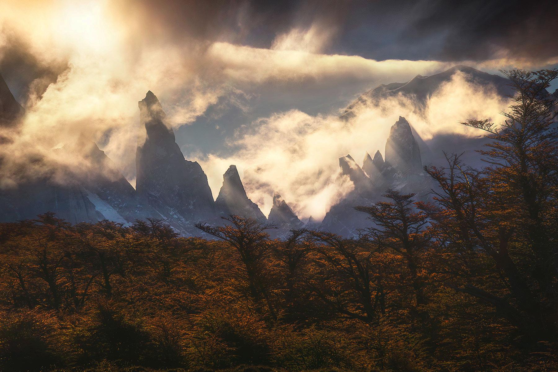 jagged, peaks, Argentina, autumn, photo
