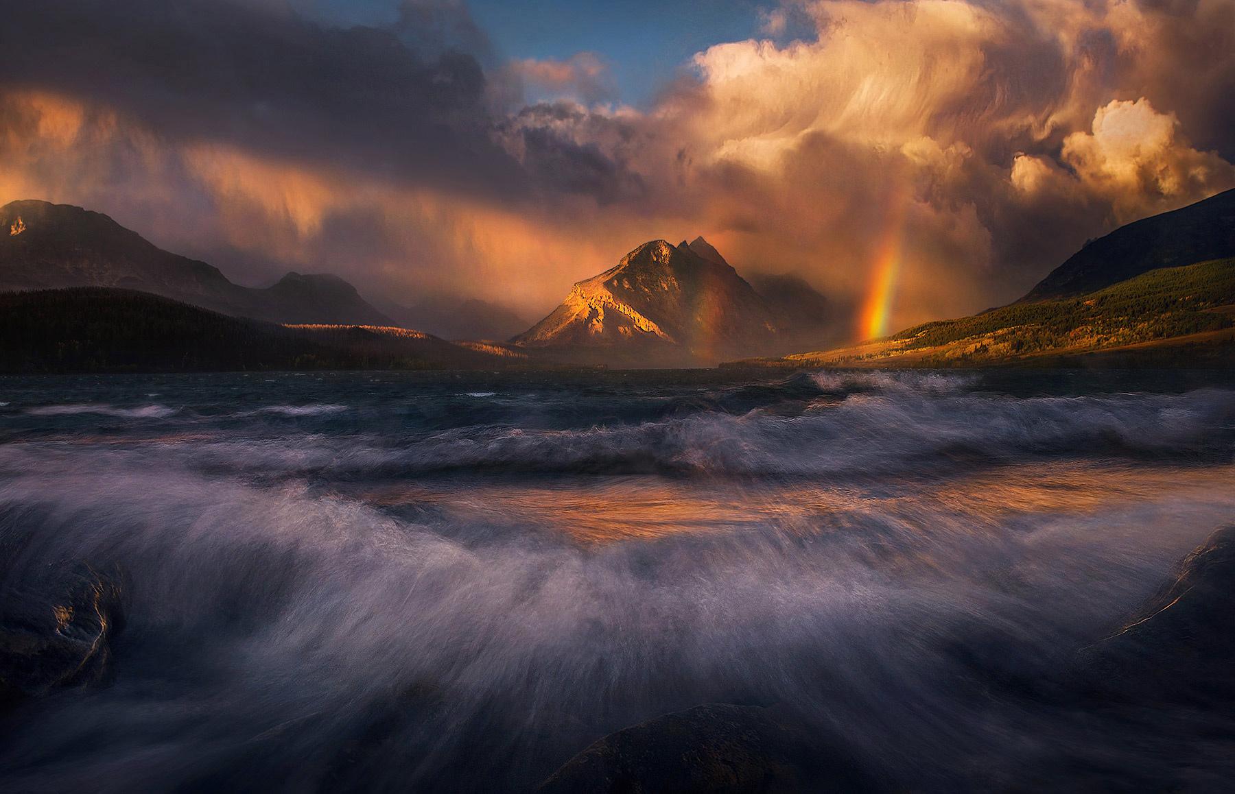 Glacier, Montana, Lake, Rainbow, Waves, Storm, Sunrise, photo