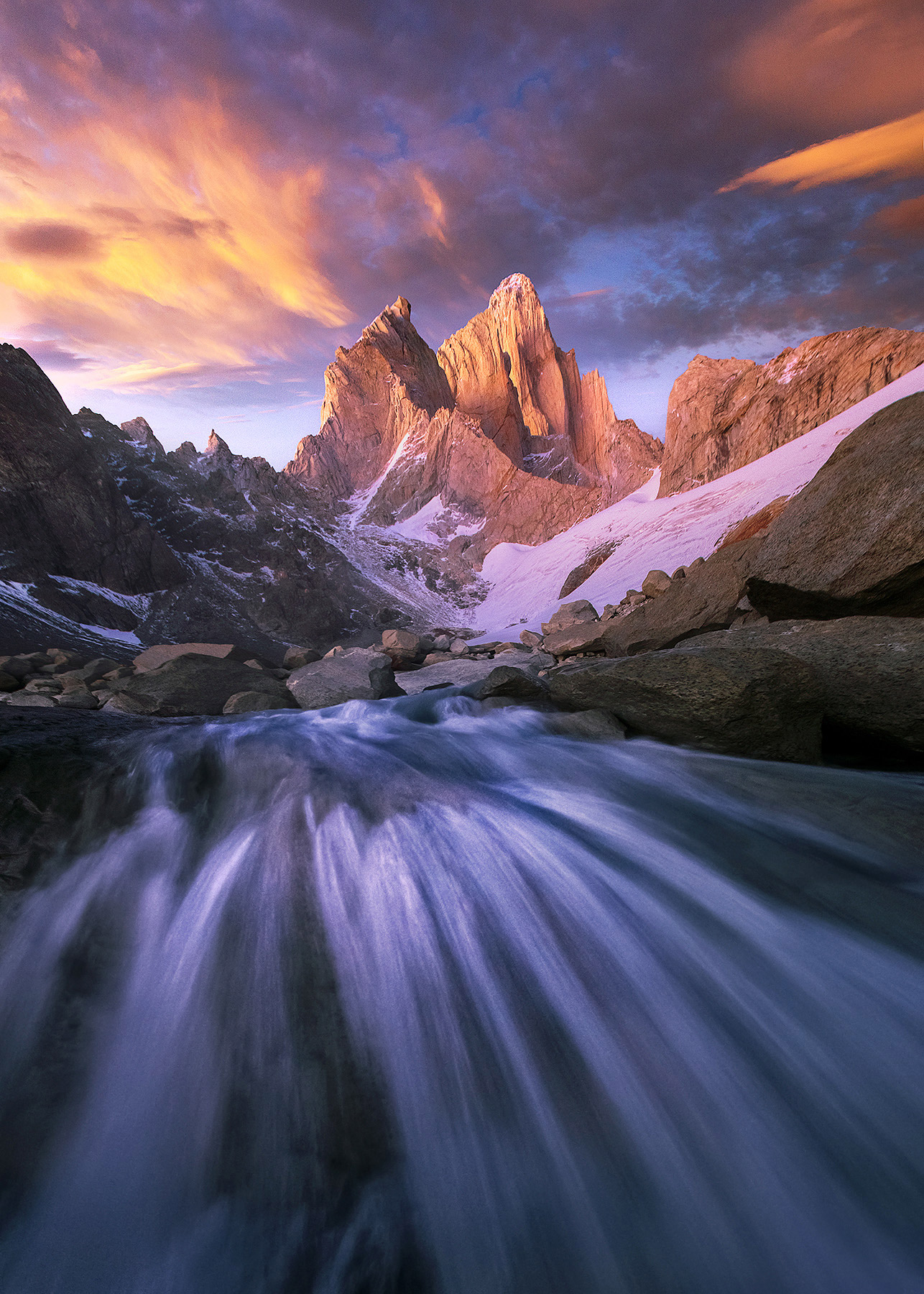 Fitz Roy, stream, rushing, Argentina, north face, photo