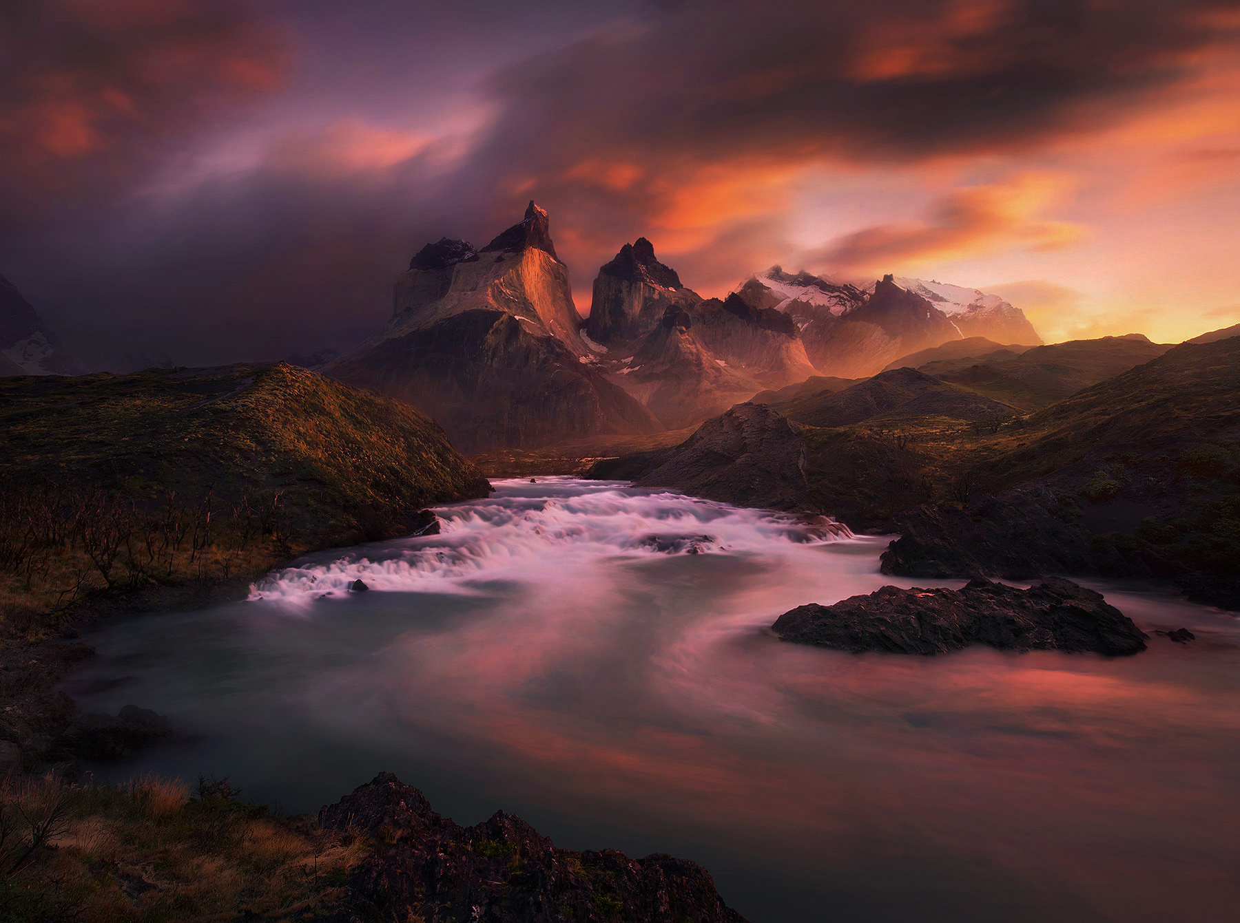 Salto Grande, Torres Del Paine, Chile, Unique, Sunrise, photo
