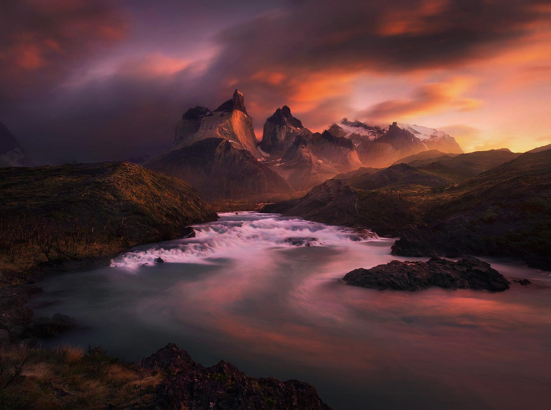 Salto Grande, Torres Del Paine, Chile, Unique, Sunrise, photo