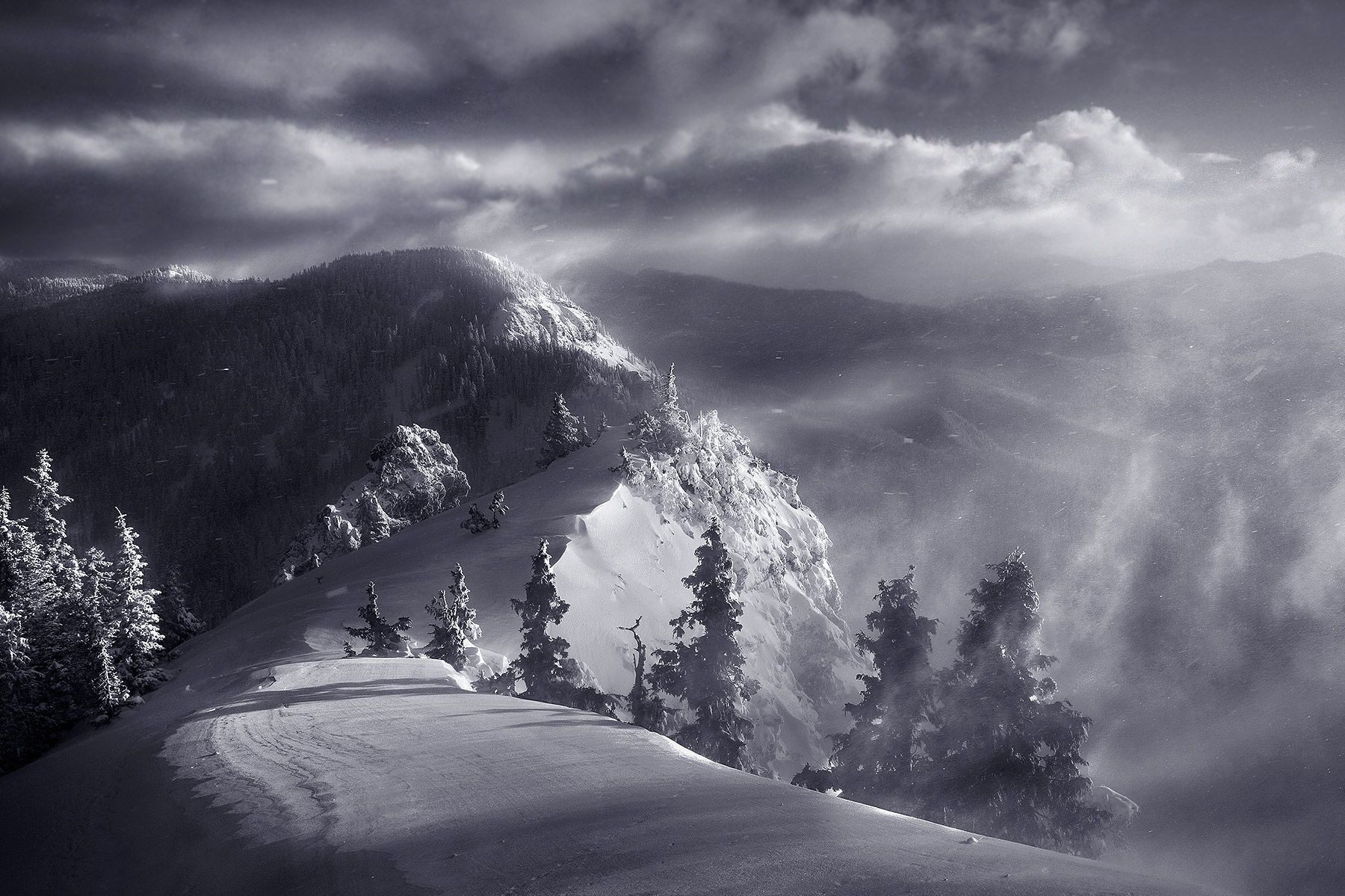 winter, blowing, snow, cascade, oregon, range, peak, photo