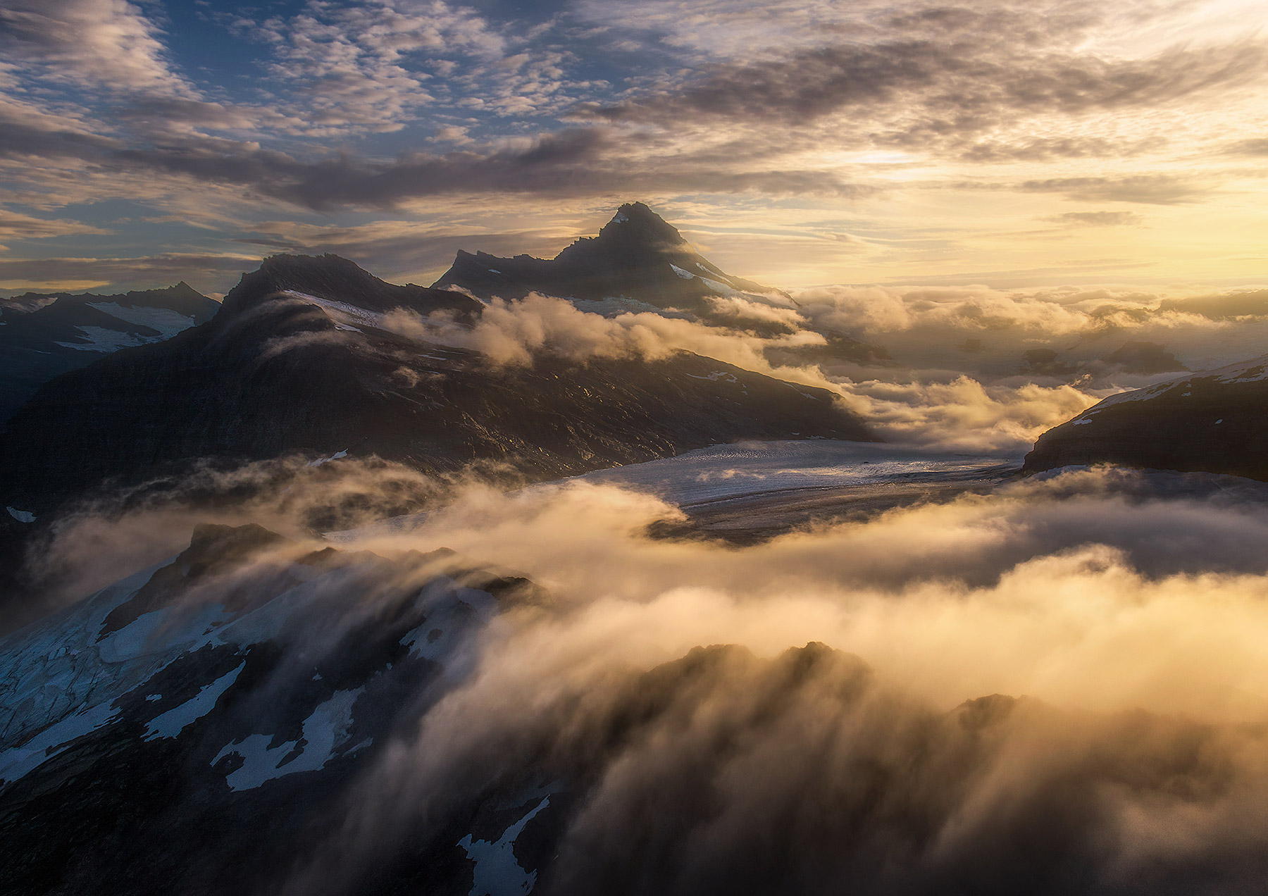 aspiring, clouds, aerial, glacier, New Zealand, sunset, photo
