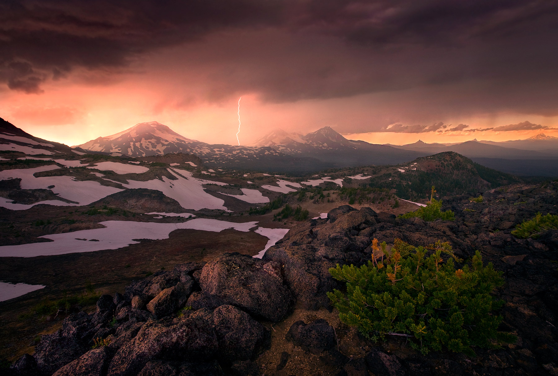Lightning, Thunderstorm, Three Sisters, Oregon, Sunset, Peaks, photo