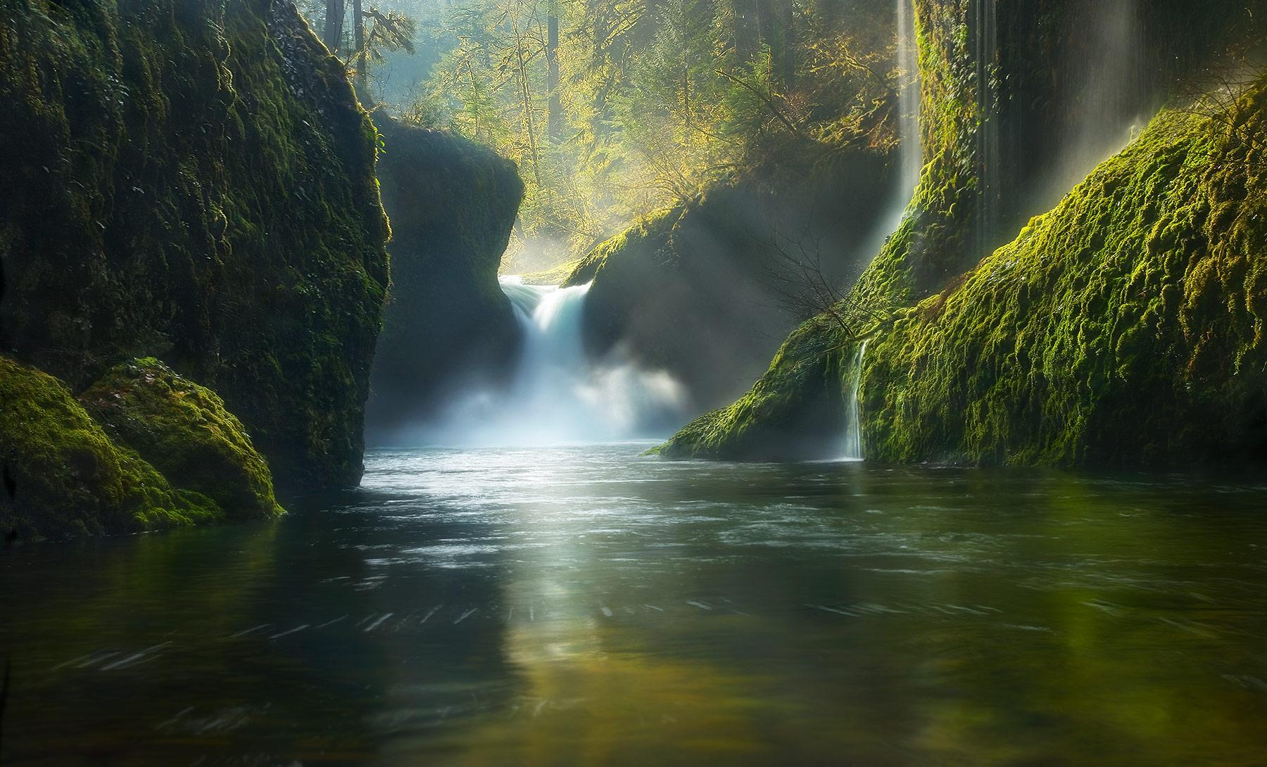Oregon, Punch Bowl, Falls, Eagle Creek, Columbia, Unique, Spring, photo
