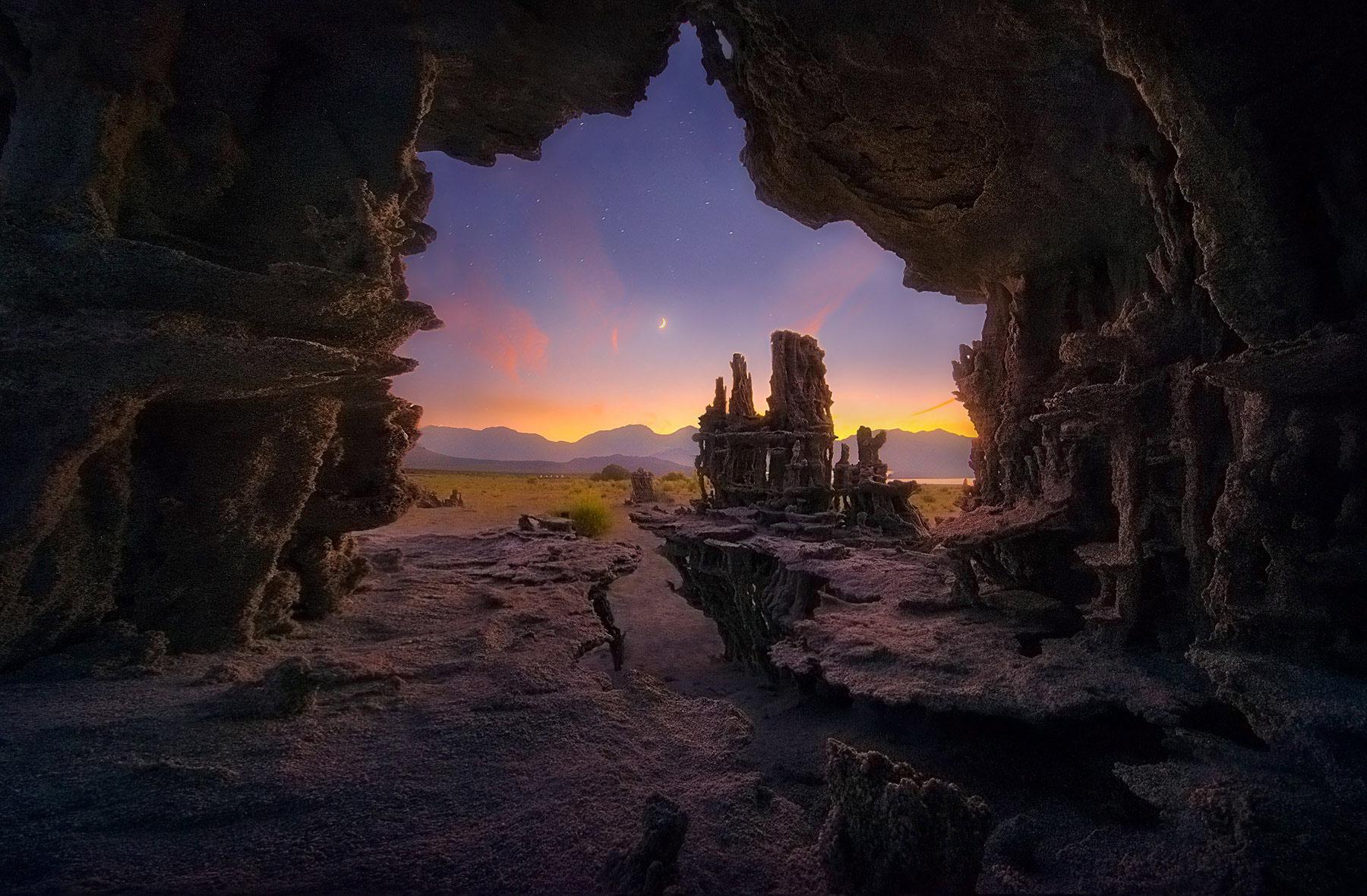 twilight, tufa, unique, cave, mono lake, photo