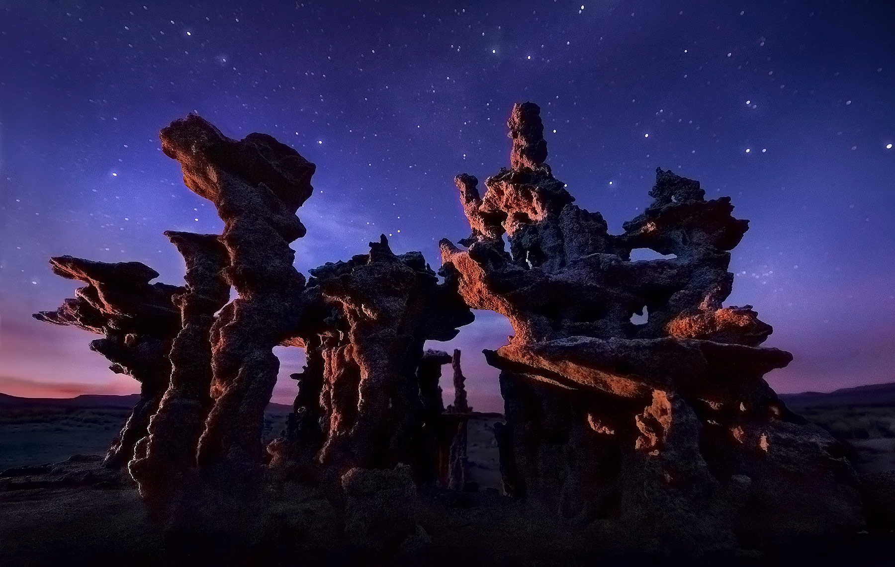 Sand Tufa, Mono Lake, Unique, Night, photo