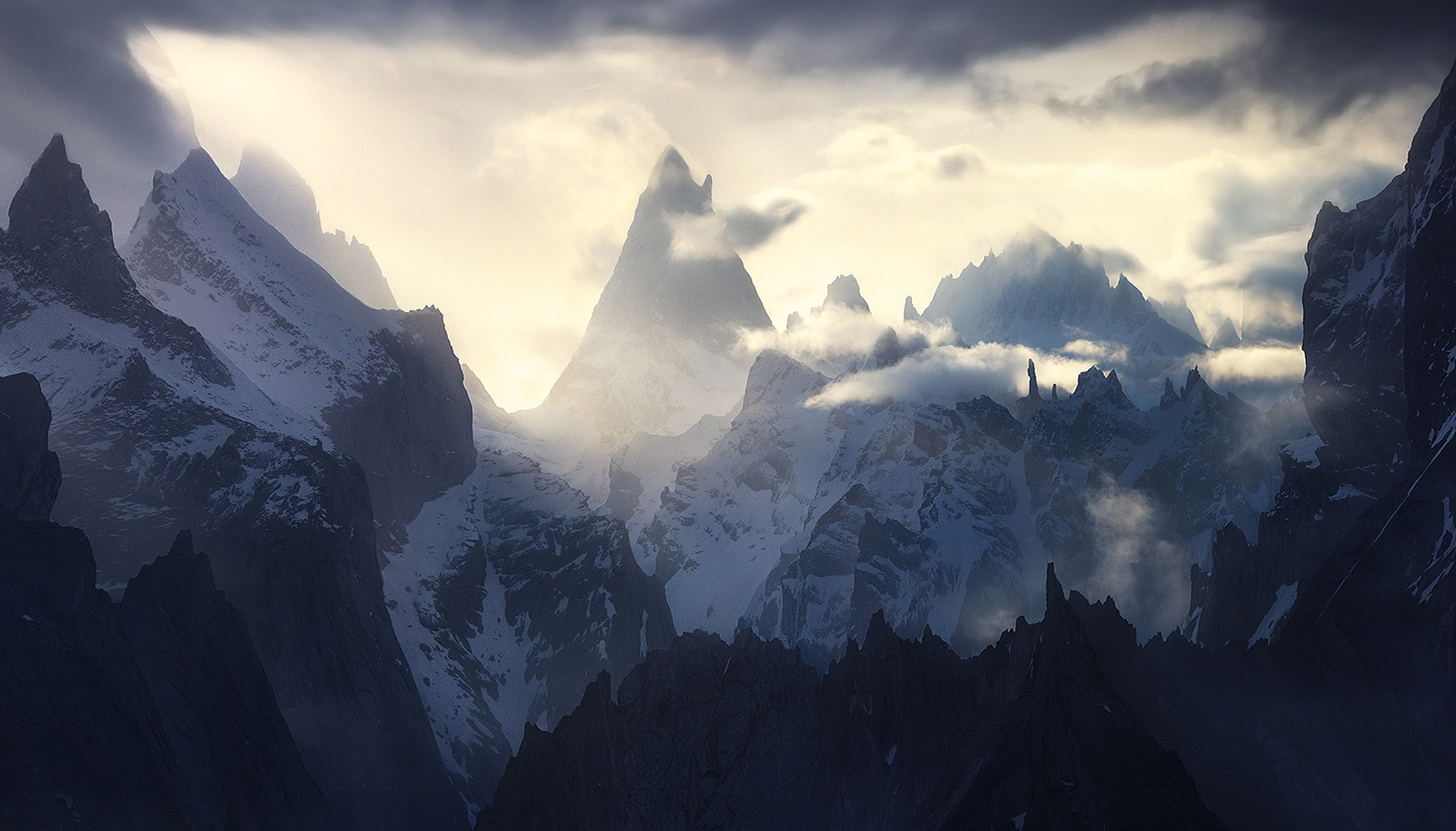 Layers of high peaks and spires adorn the crest of the Karakorum Himalayas in Pakistan