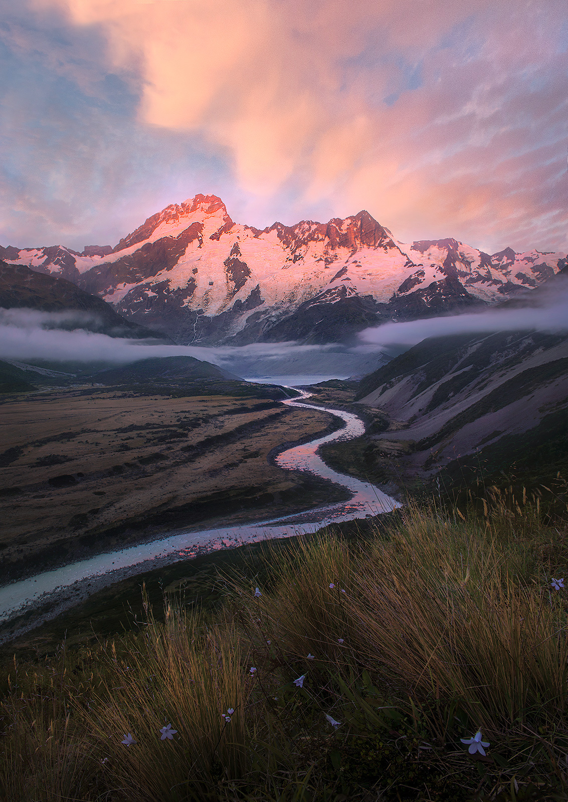 South Island, mountains, glacial, river, New Zealand, photo