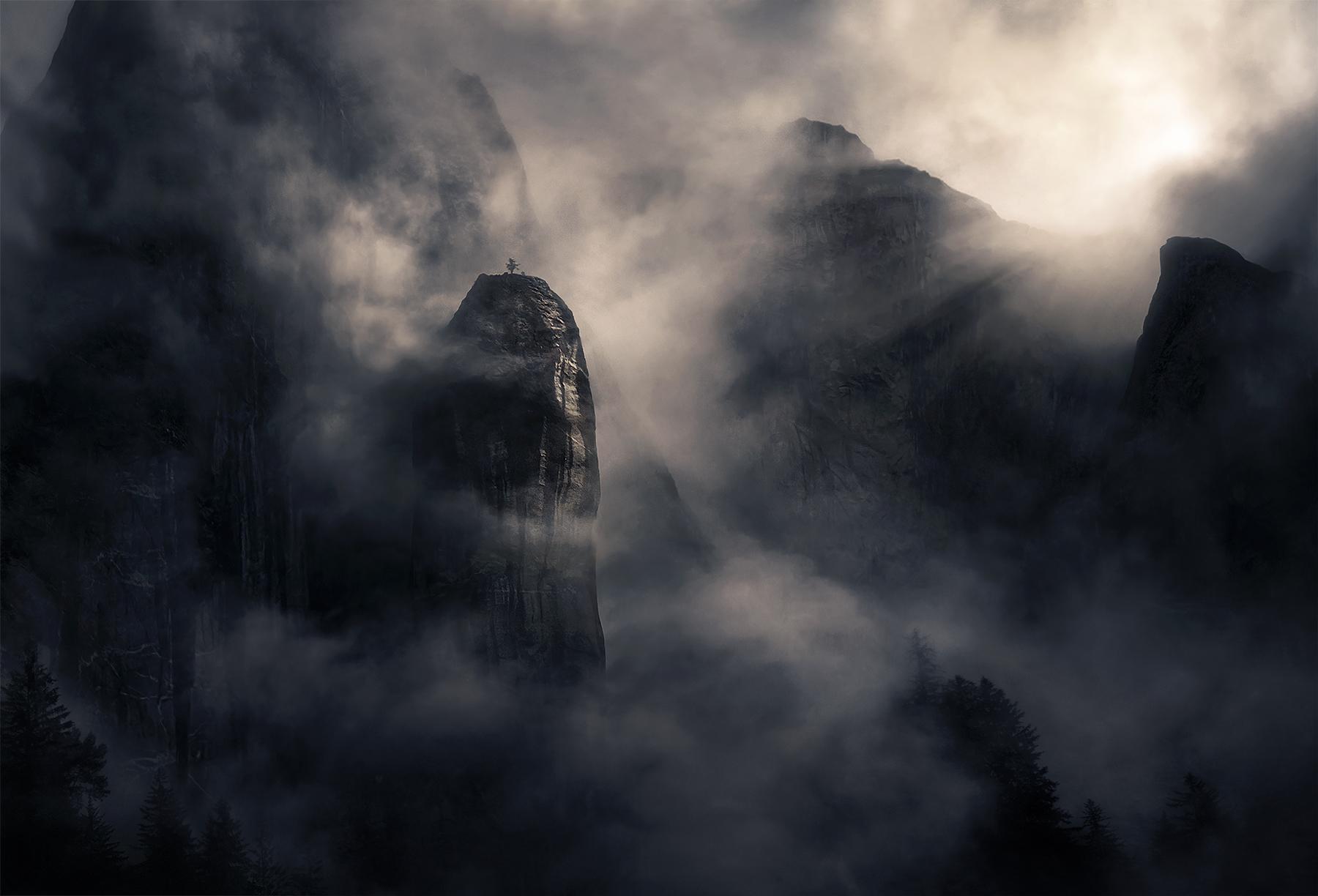 mist, fog, cliffs, peaks, Alaska, Leconte, , photo