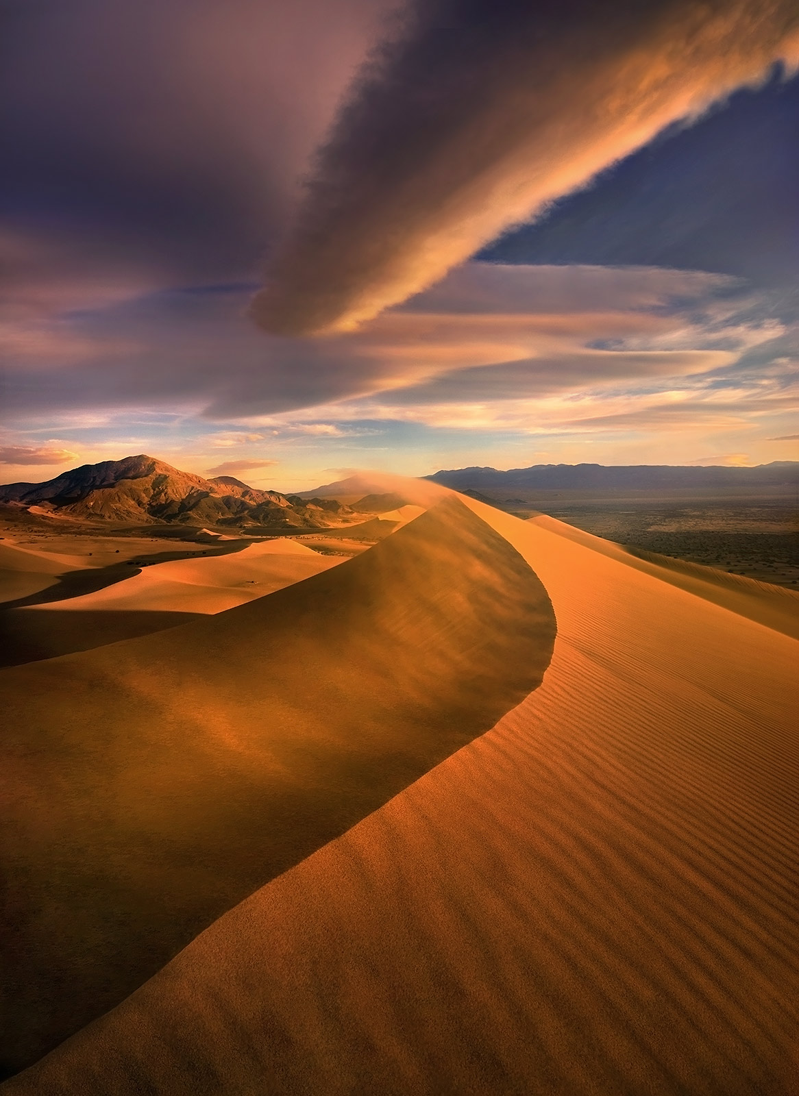 Death Valley, wind, light, sunset, dunes, photo