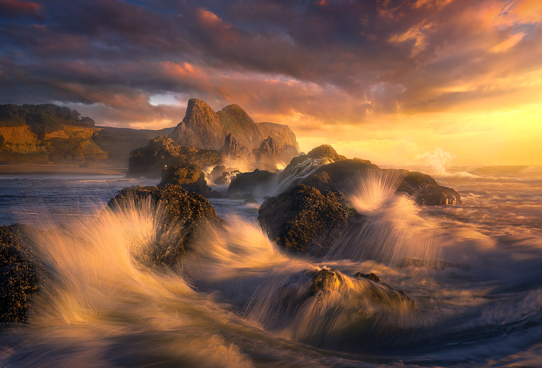 Seal Rocks, oregon, coast, waves, sunset, photo