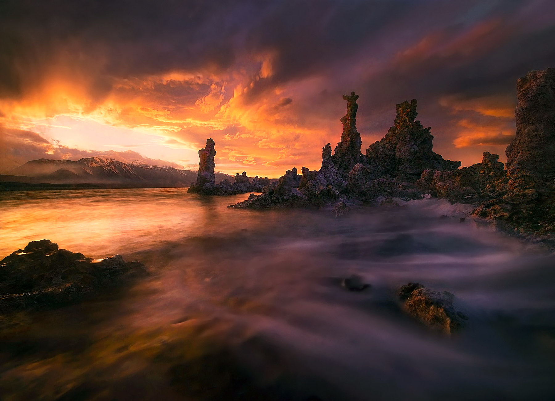 Mono Lake, sunset, California, waves, water, unique, photo
