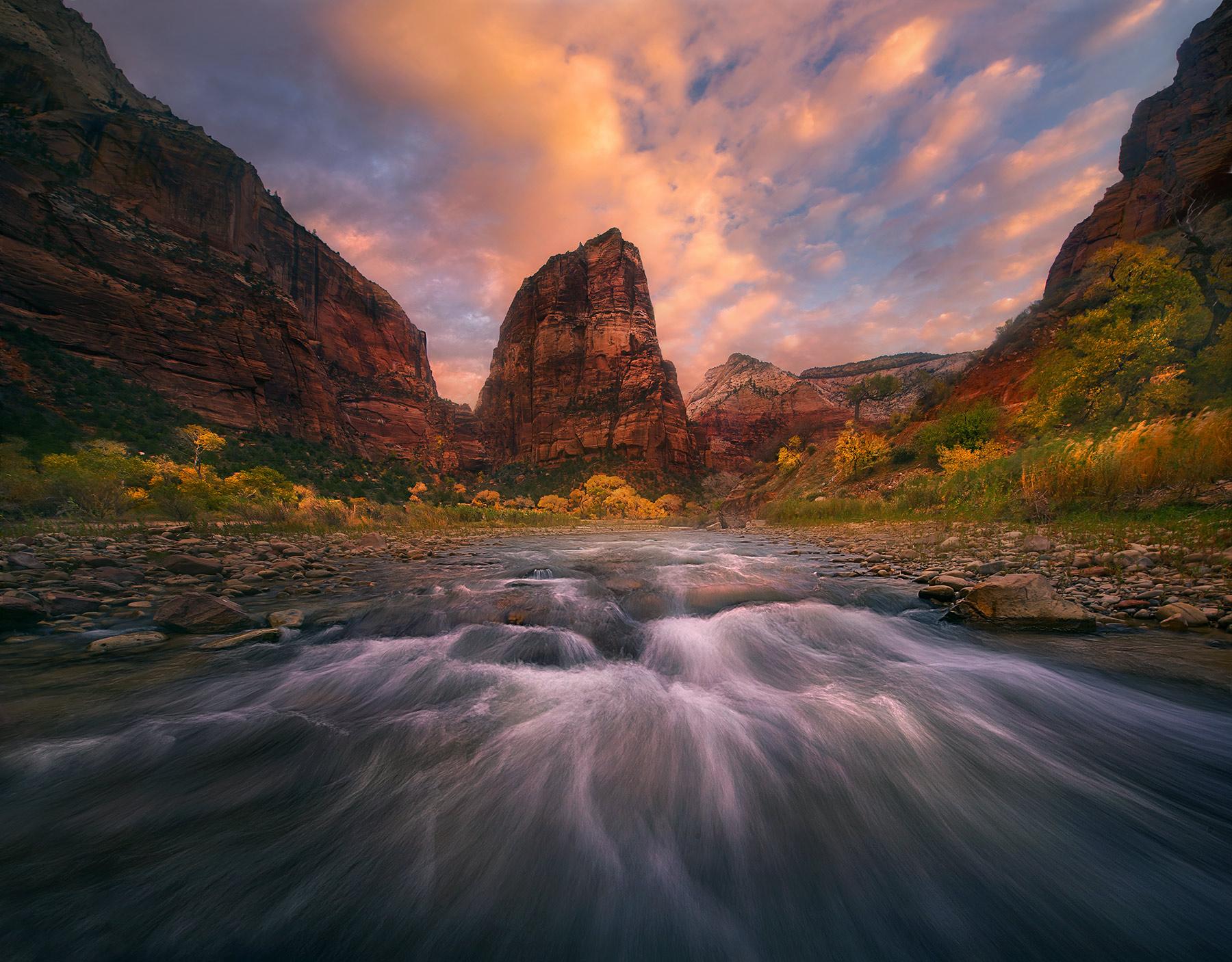 Virgin River, Zion, Angel's Landing, sunrise, beautiful, fall, photo